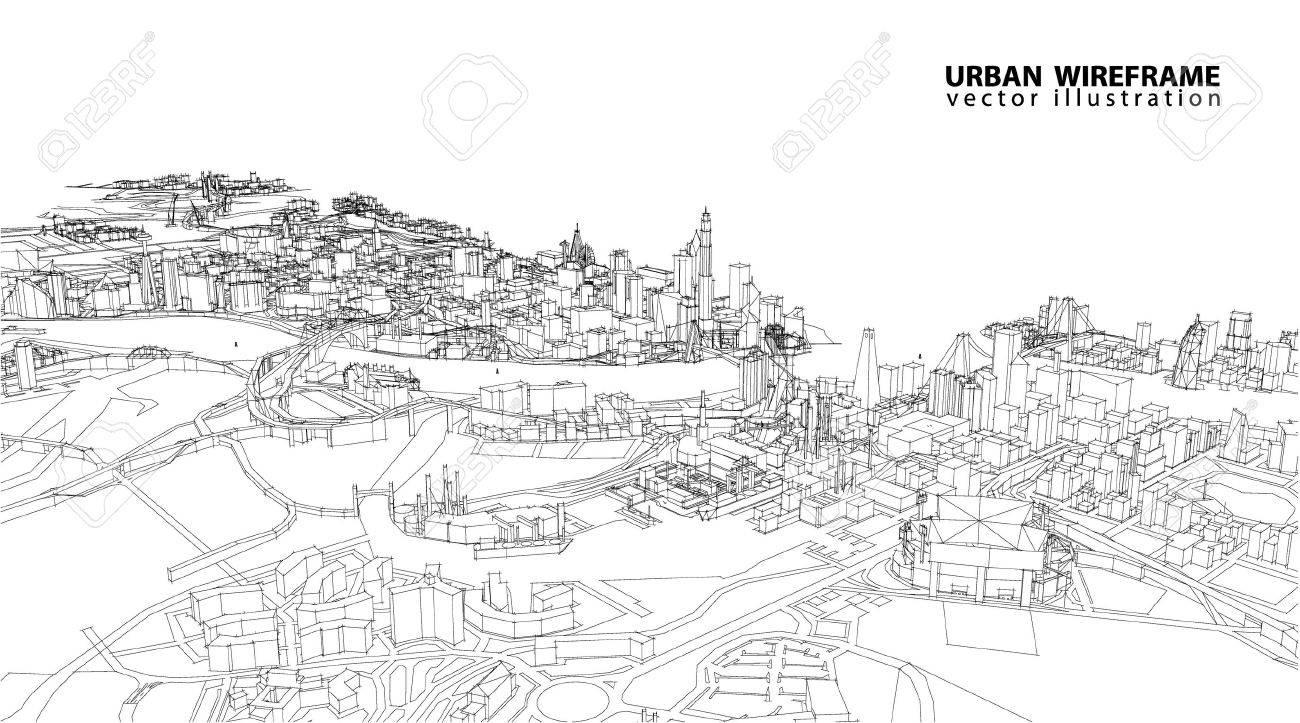 Cityscape Vector Sketch. Architecture - Illustration - 54102771