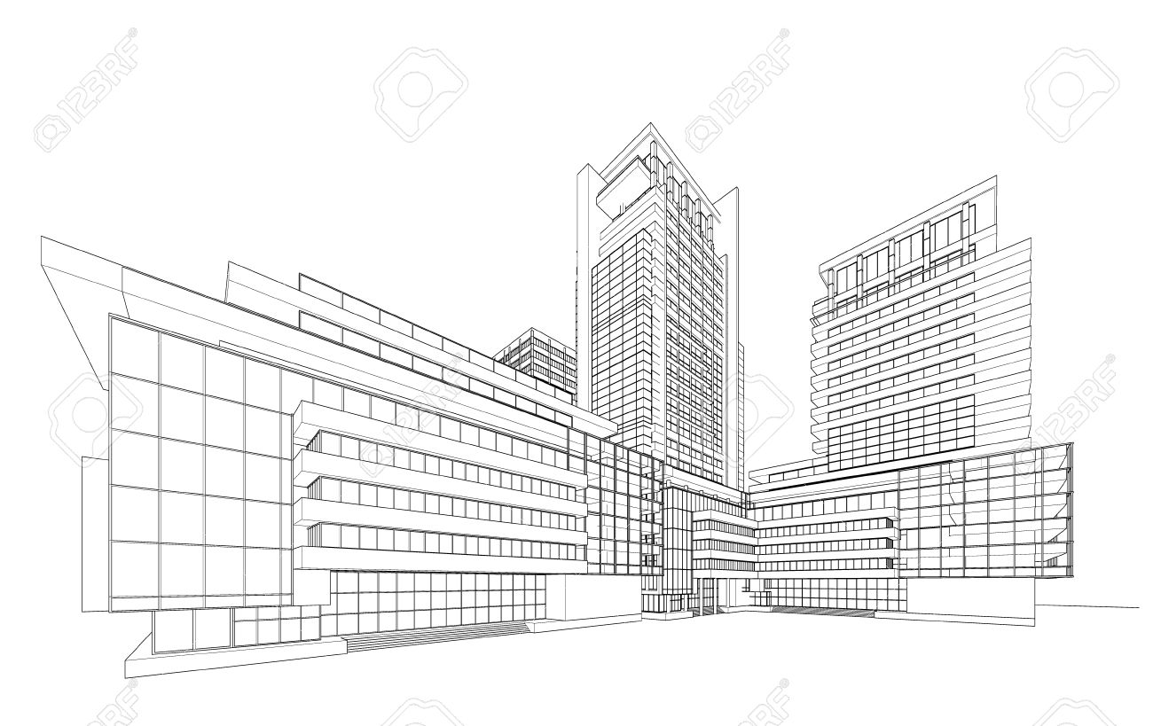 3d building wireframe royalty free cliparts vectors and stock