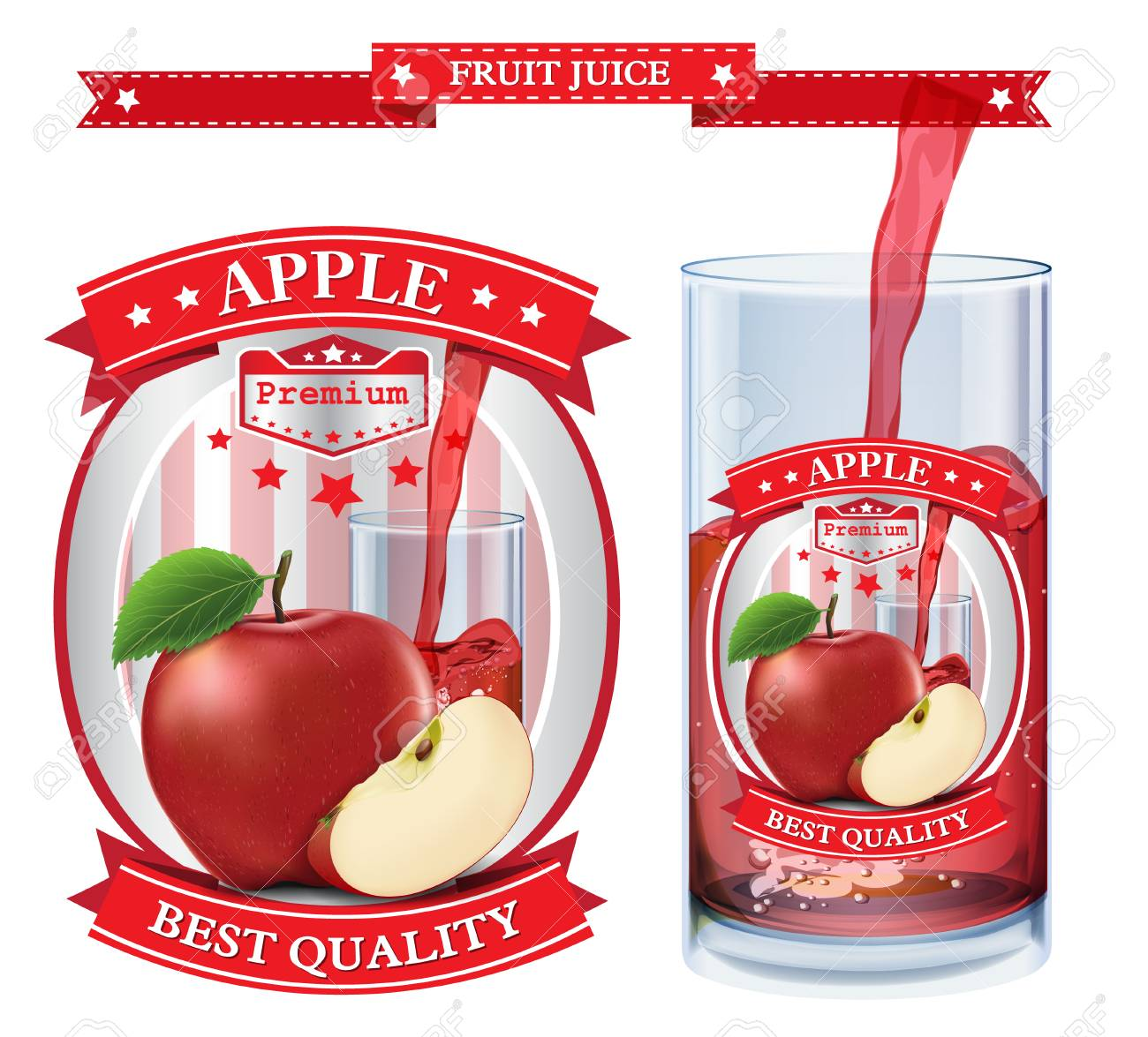 Apple juice Label vector visual, ideal for fruit juice  Drawn