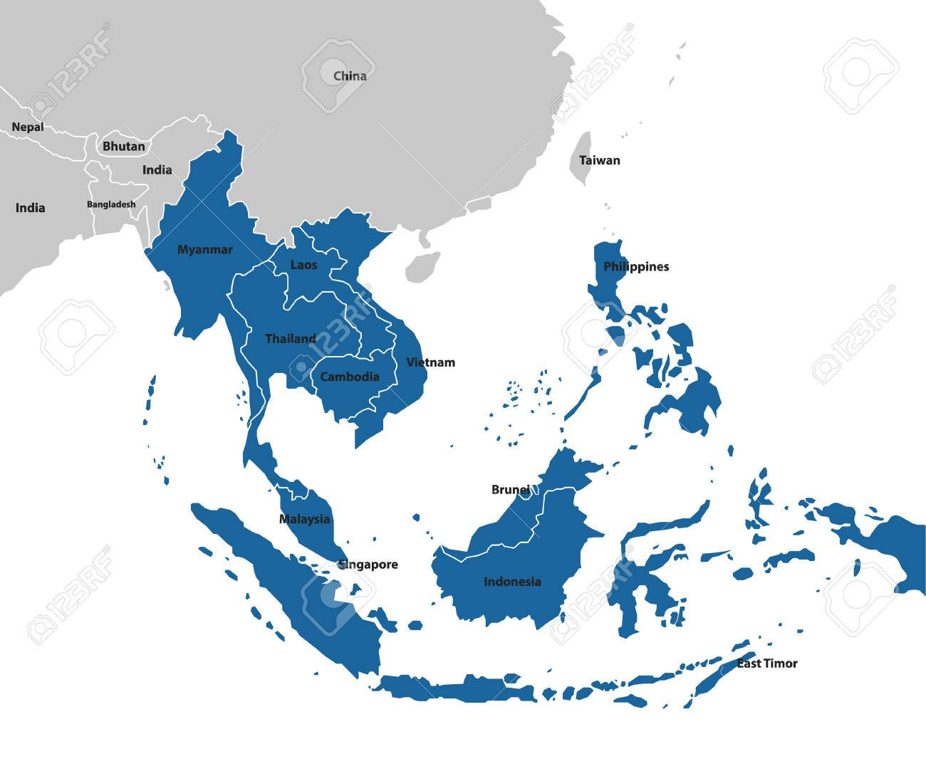 Southeast Asia Map Maps Collection Royalty Free Cliparts Vectors