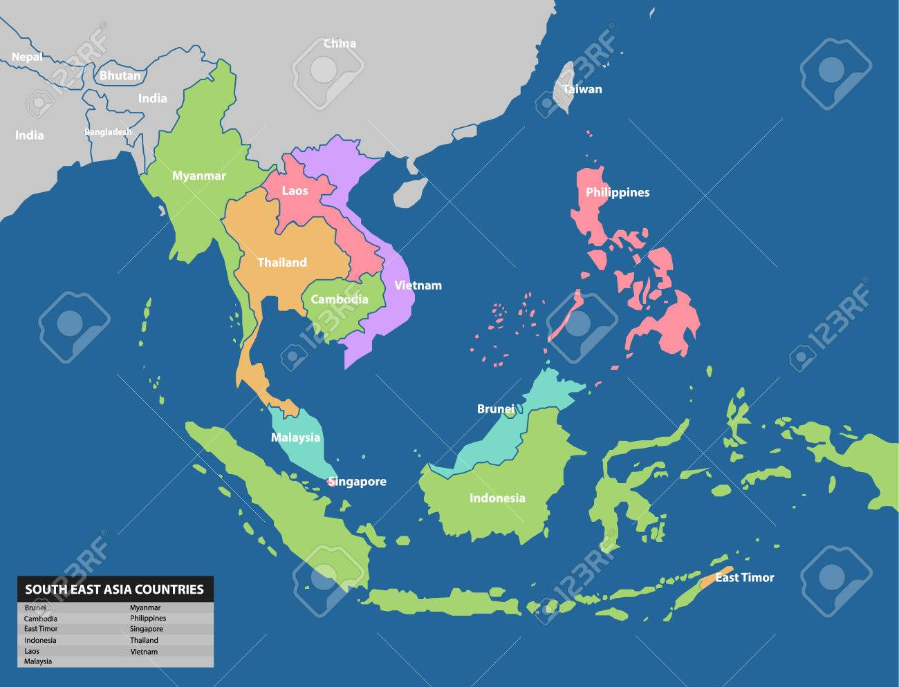 Southeast Asia Map. Maps Collection Royalty Free Cliparts, Vectors ...