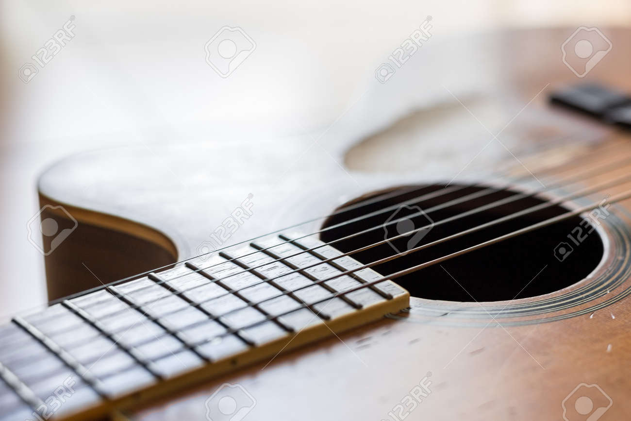 Selective focus of Scratches on the old acoustic guitar - 150773554