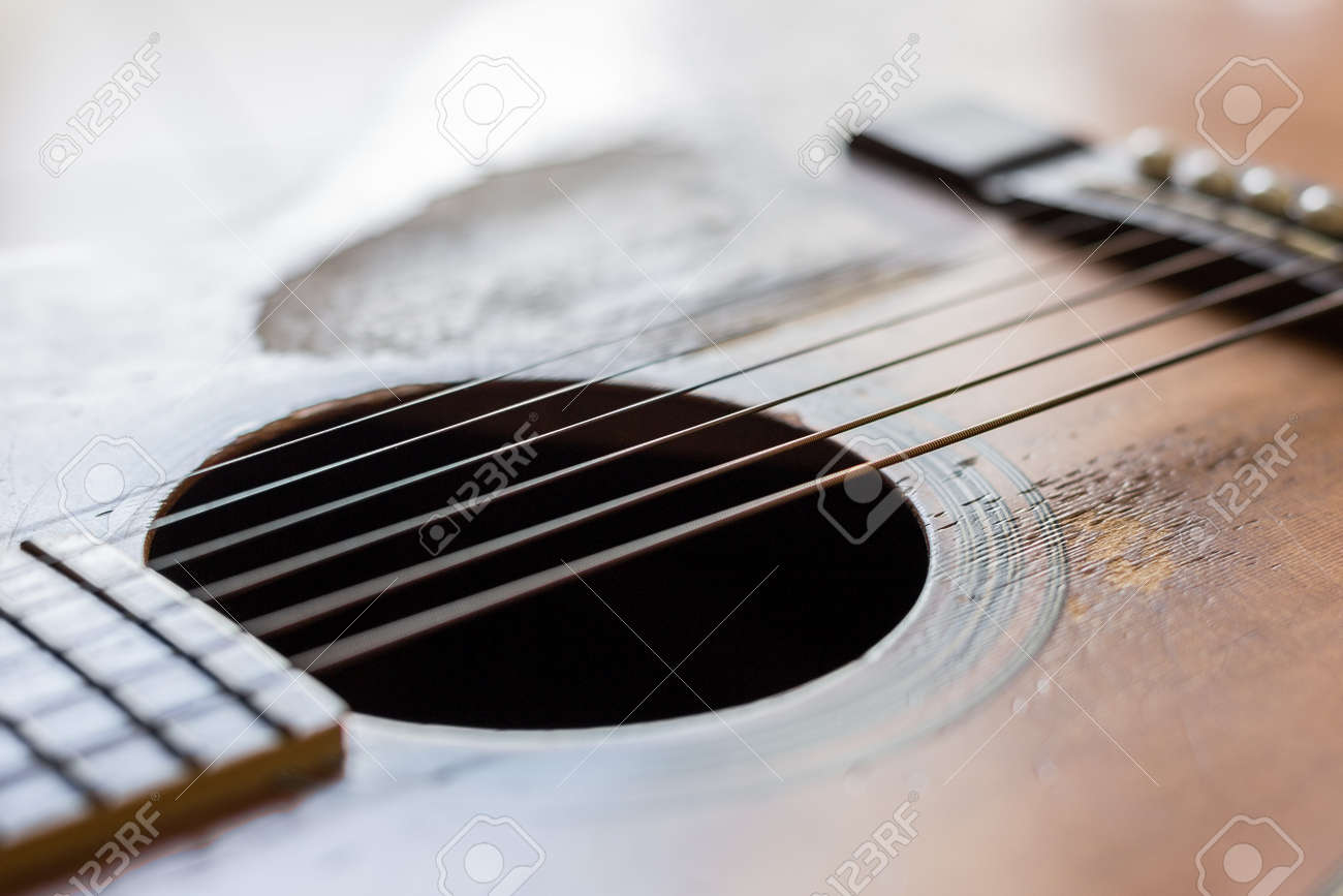 Selective focus of Scratches on the old acoustic guitar - 150773564