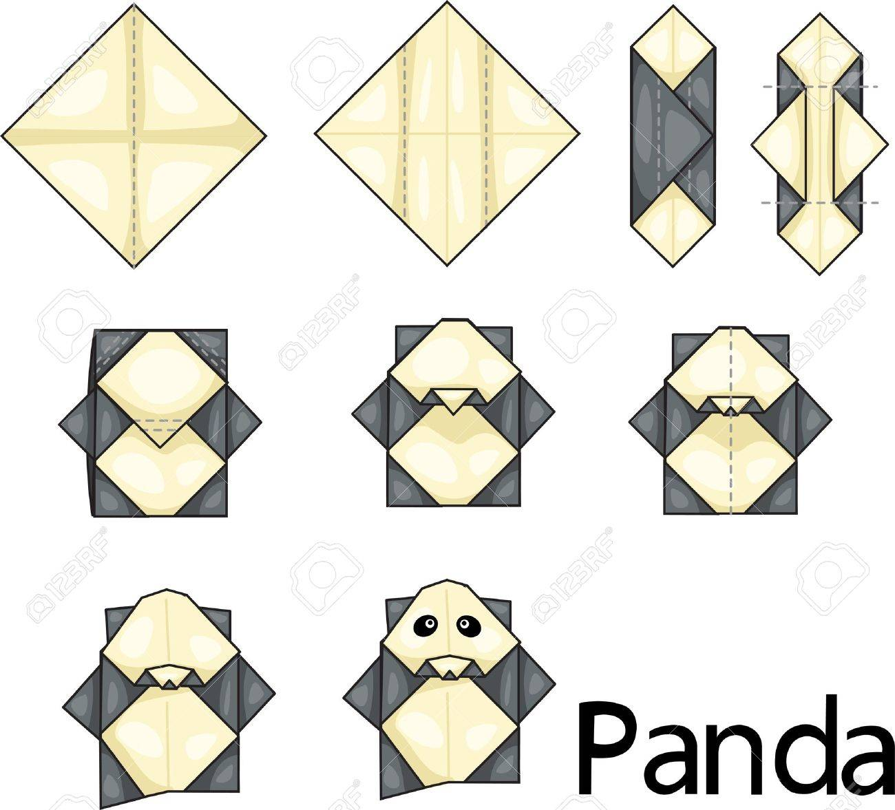 Illustrator Of Origami With Panda Stock Vector