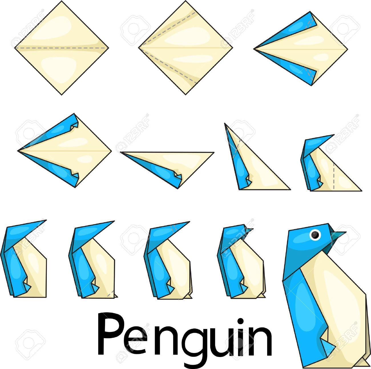 origami facile pingouin