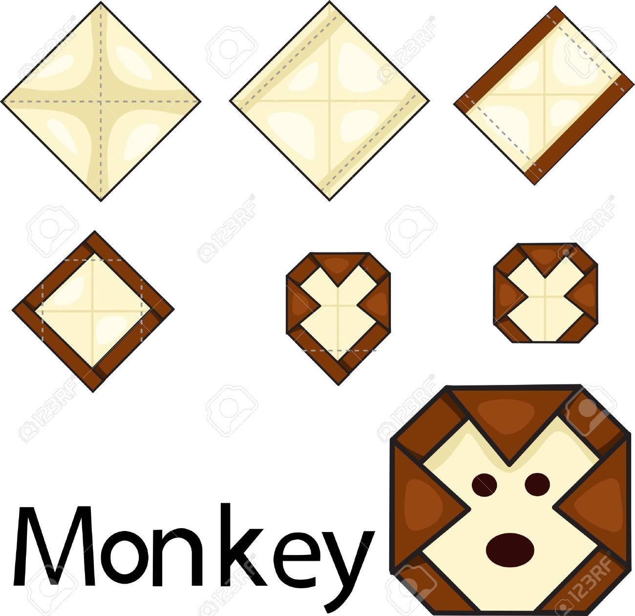 Illustrator Of Origami Monkey Face Stock Vector