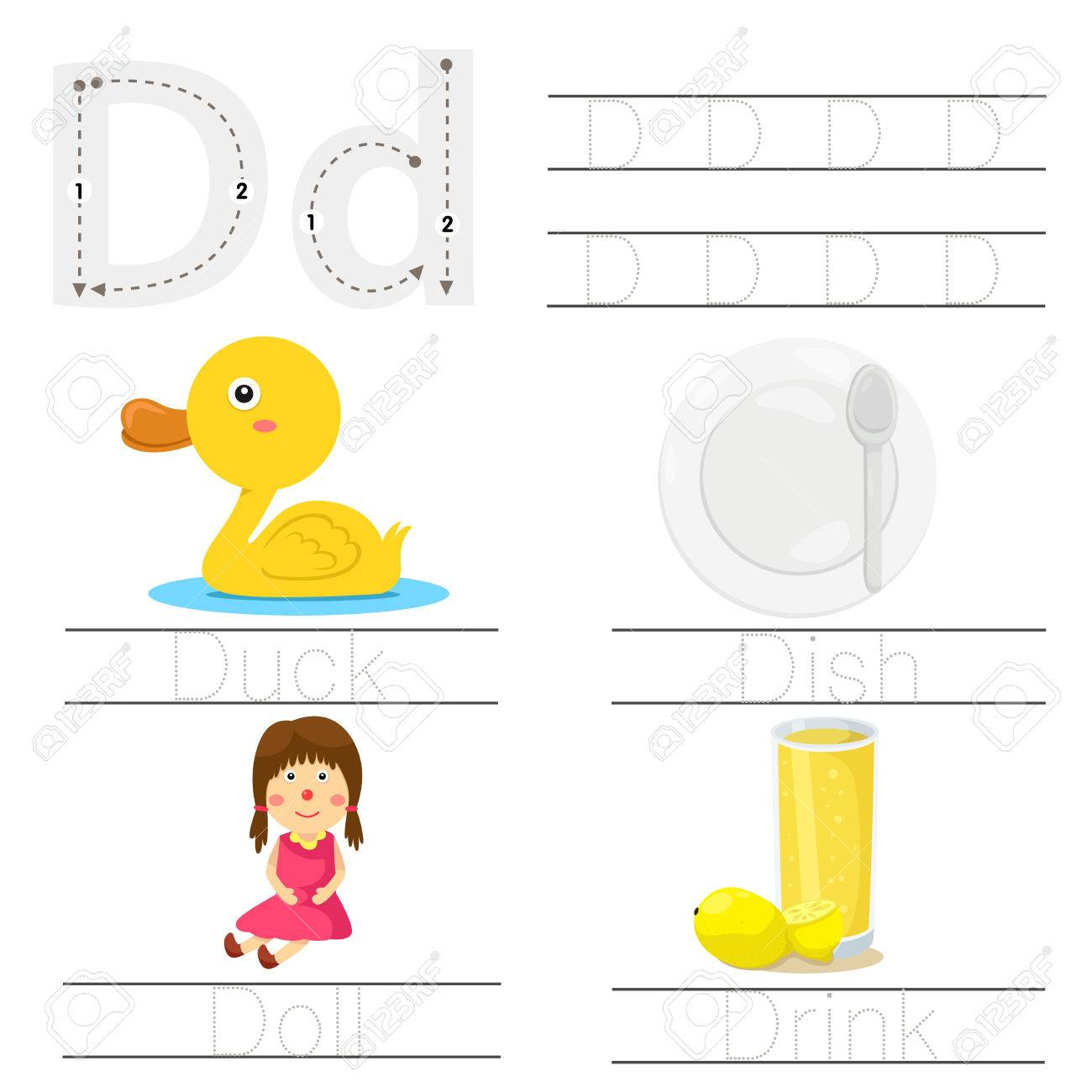 Illustrator Von Arbeitsblatt Für Kinder D Schriftart Lizenzfrei ...