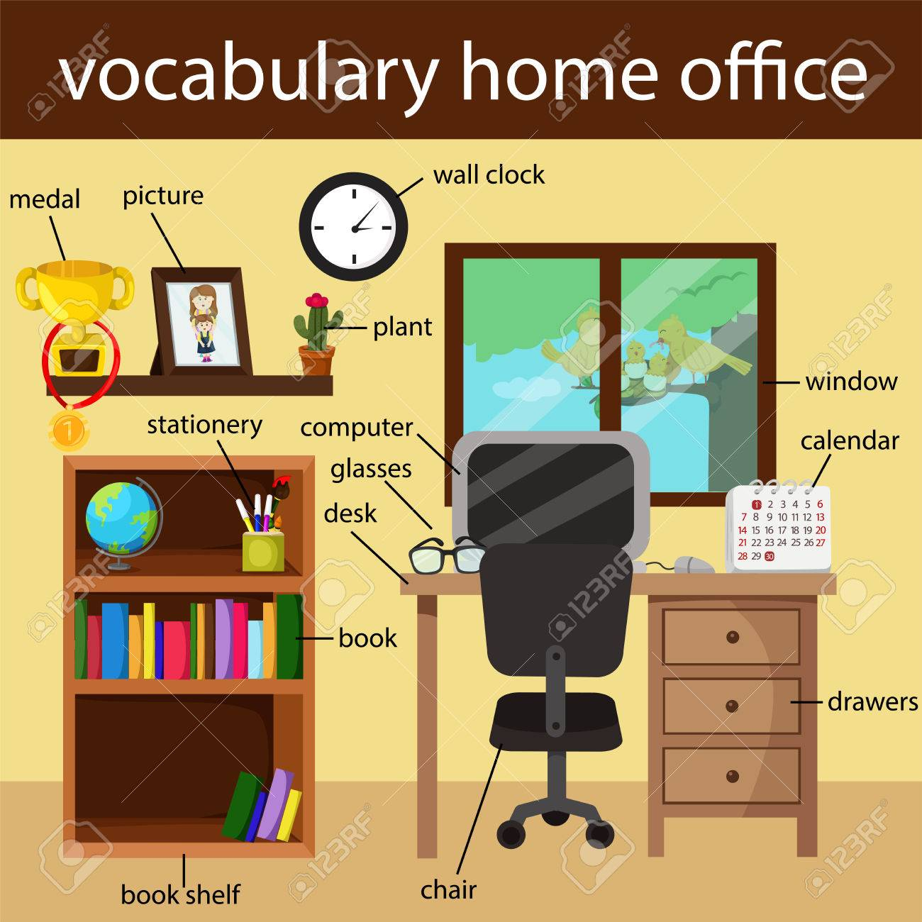 Illustrator Of Vocabulary Home Office Royalty Free Cliparts Vectors