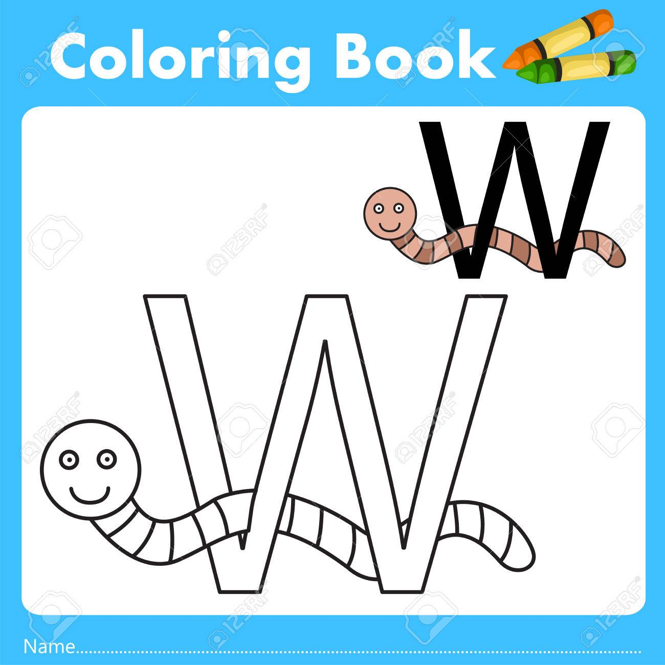 Book color illustrator - Illustrator Of Color Book With Worm Animal Stock Vector 66958051