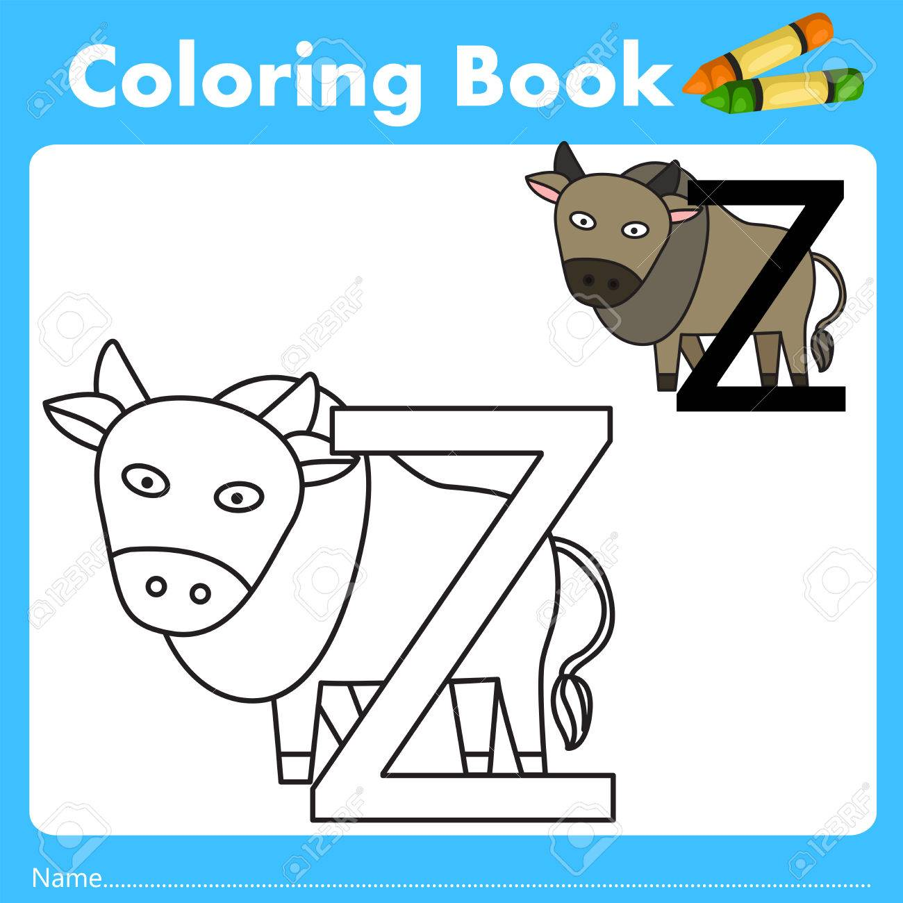 Book color illustrator - Illustrator Of Color Book With Zebu Animal Stock Vector 66958056