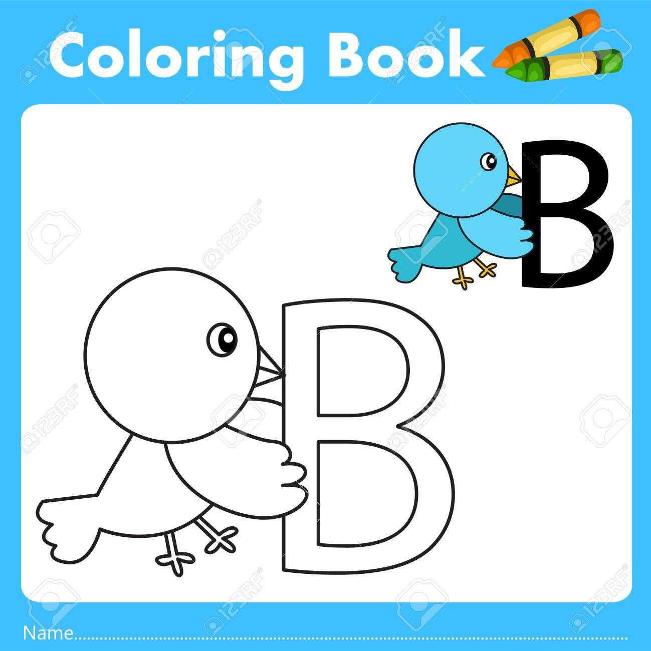 Book color illustrator - Illustrator Of Color Book With Bird Animal Stock Vector 67062101