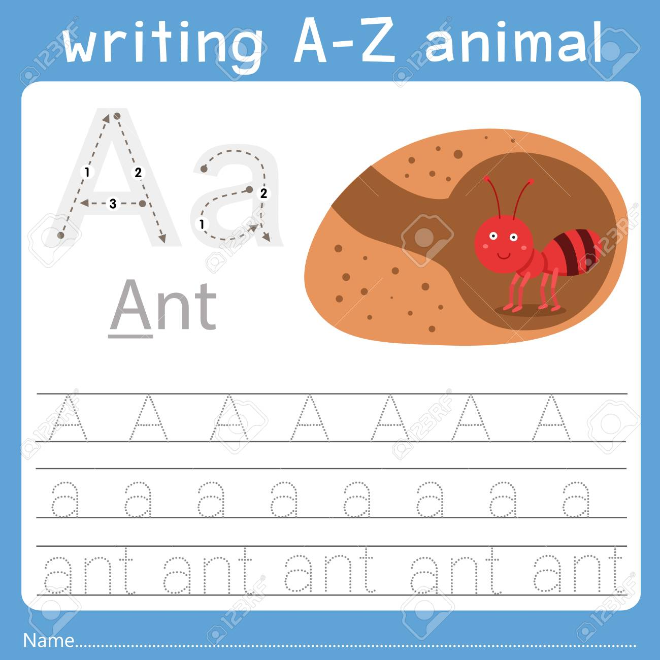 Illustrator of writing a-z animal a - 126050589
