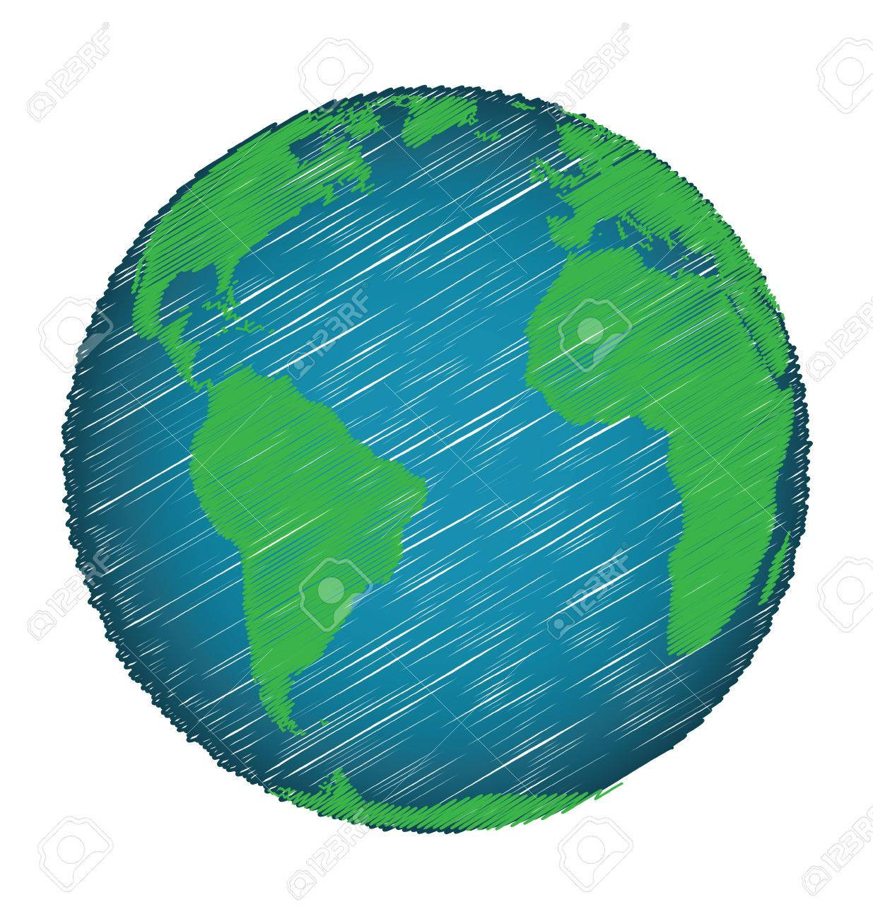 Earth Sketch Hand Draw Credit World Map Of Nasa Royalty Free