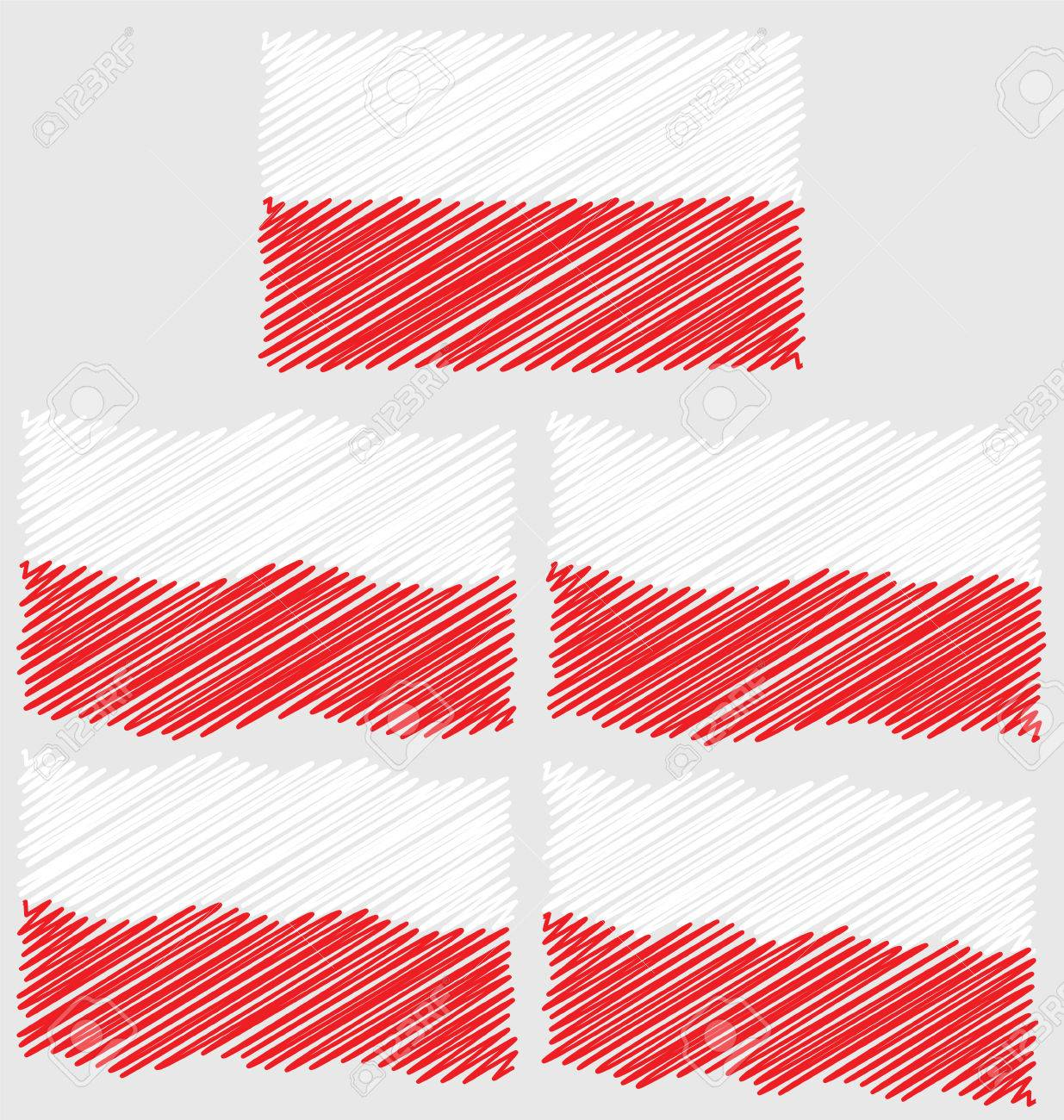 flat and waving hand draw sketch flag of poland country royalty