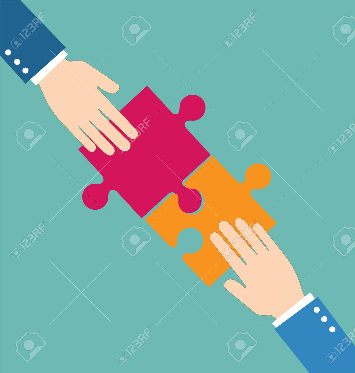 Teamwork concept, Businessman put pieces of puzzle together - 55081417