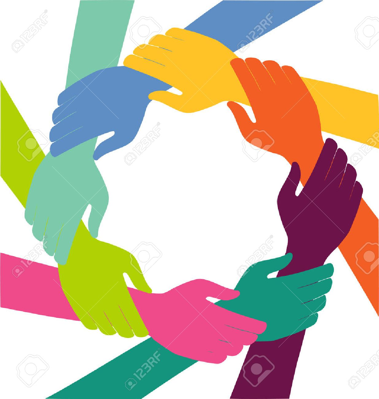Creative Colorful Ring of Hands Teamwork Concept - 55470295