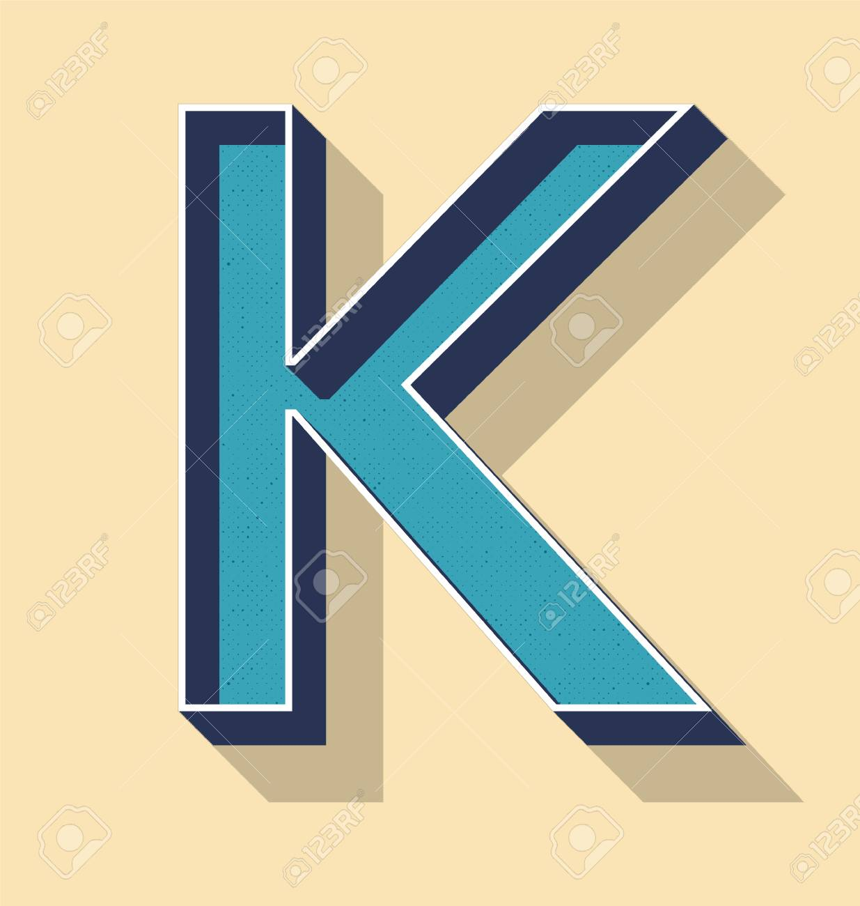 3d letter k retro vector text style, fonts concept royalty free