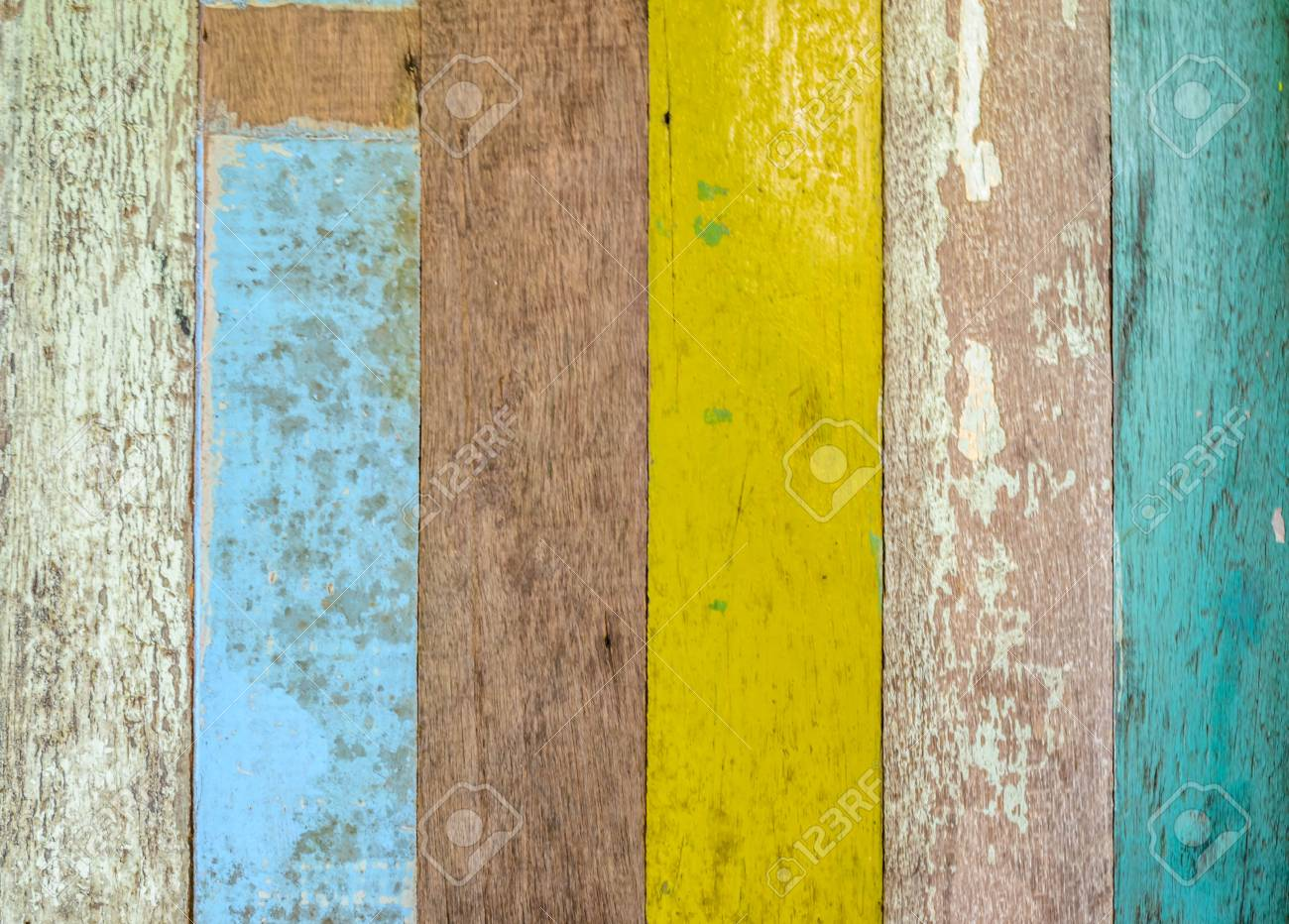 Colorful Wood Wall Texture And Decorative Stock Photo, Picture And ...