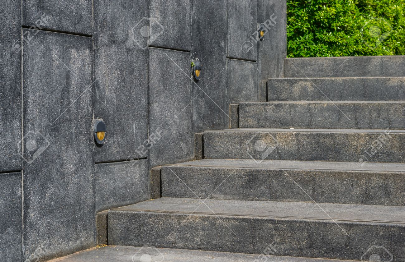 concrete steps or cement stairs and stone wall with plants tree background stock photo