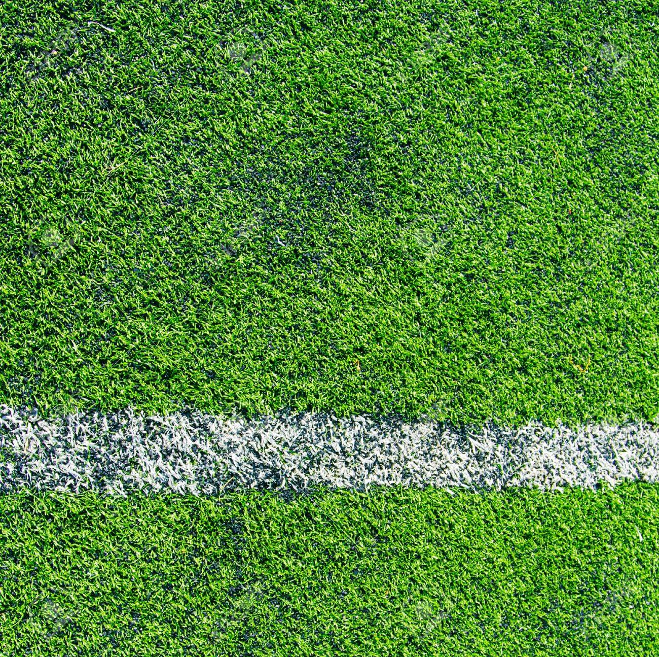 white lines in green grass field in the soccer field Stock Photo - 19484361