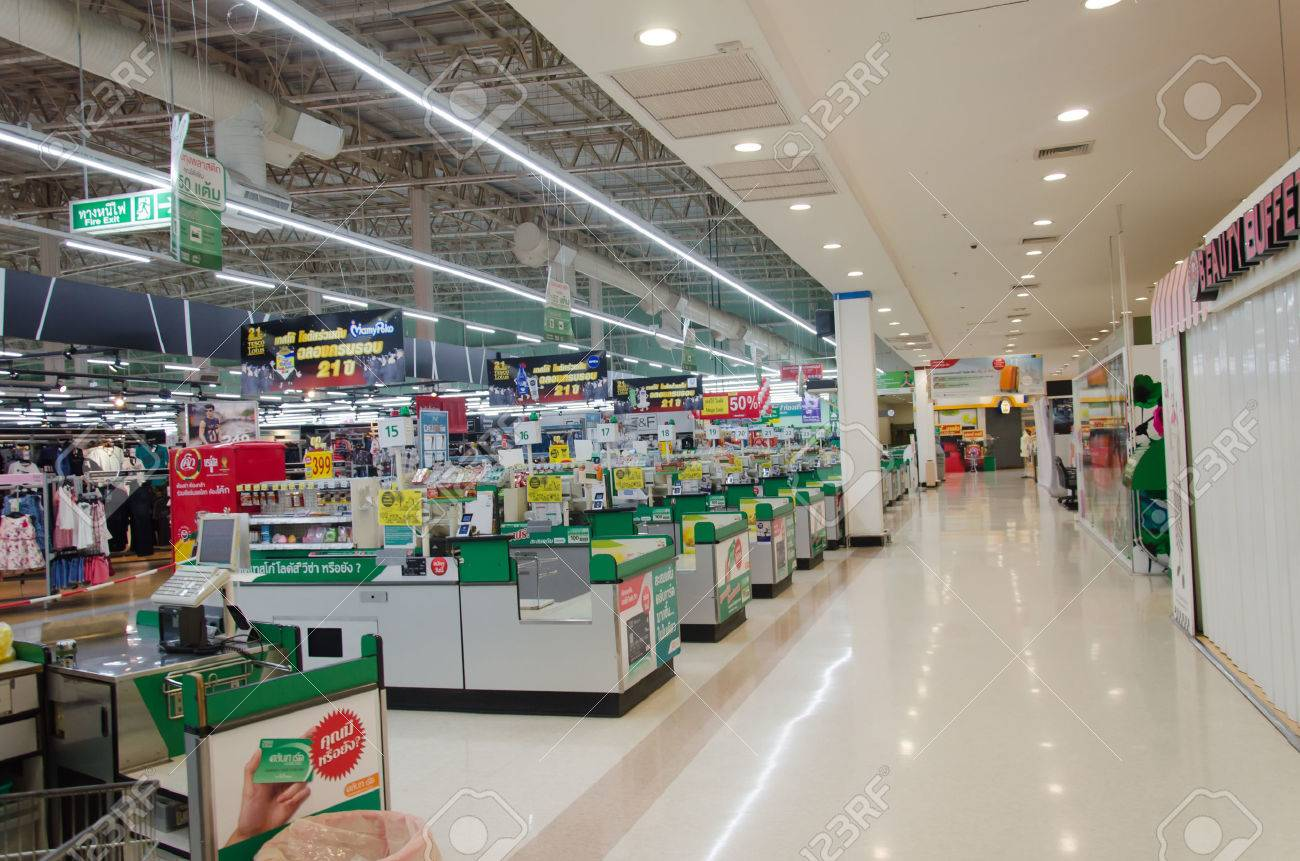 Supermarket store blur background ,Cashier counter with customer - 51526306