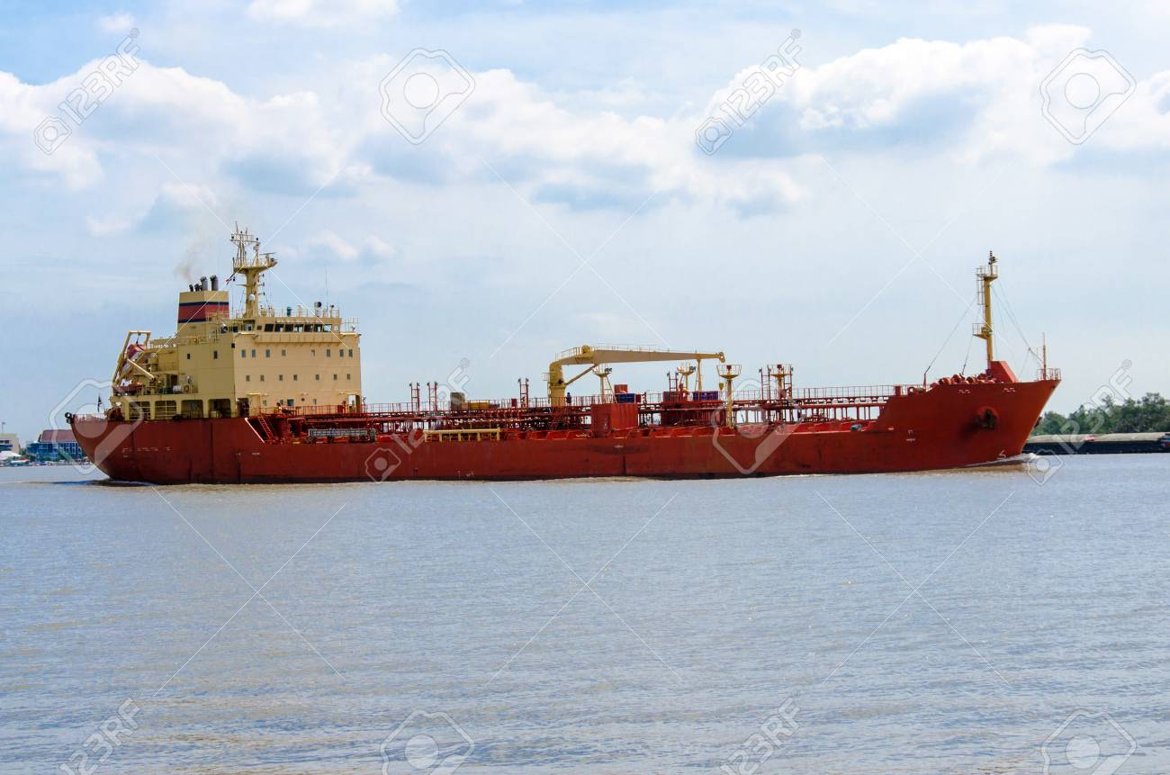 industry big red boat on the river stock photo picture and royalty