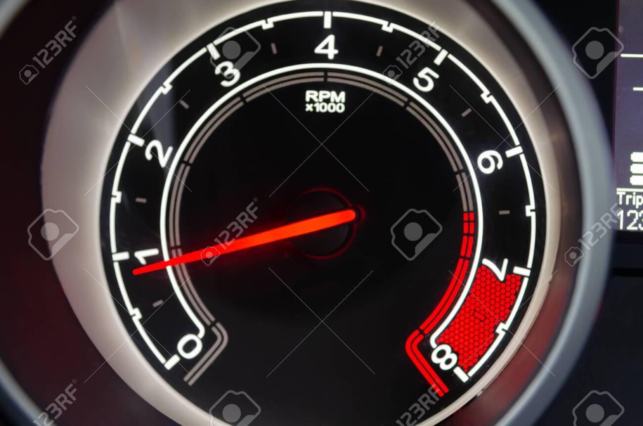 Details of Modern digital speedometer car. - 136434191