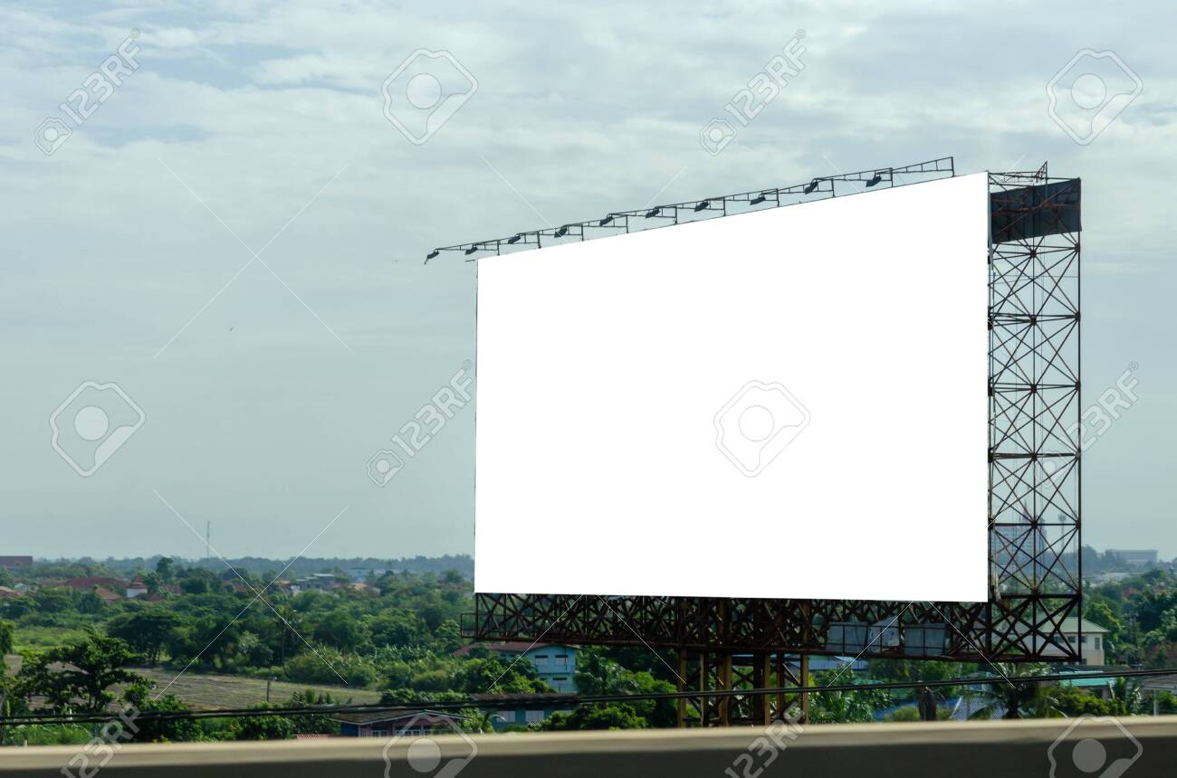 Blank billboard for advertising text or pictures on the road. Clipping path - 144030896