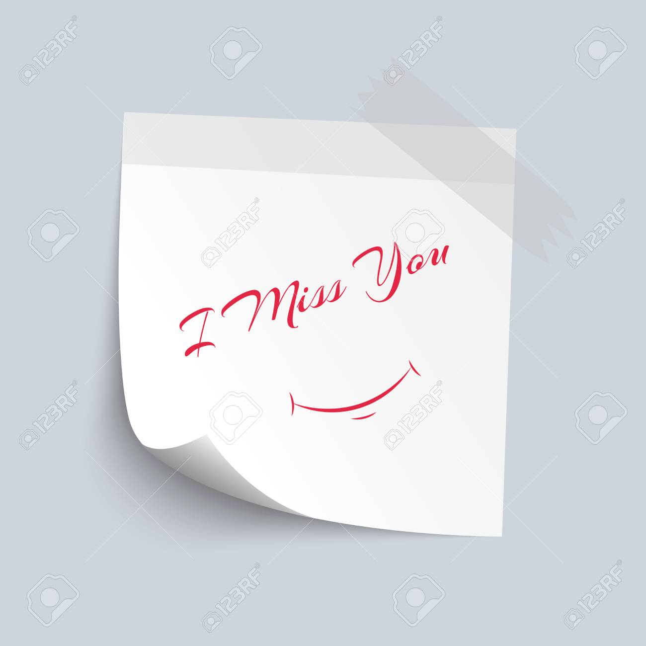 Papier Blanc De Pense Bête Avec Tu Me Manques Isoler Texte Couleur Rouge Sur Fond Blanc Illustration Vectorielle