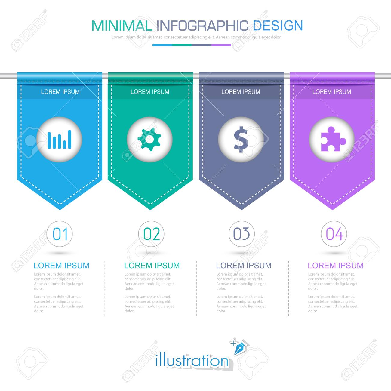 Flag infographic elements with business icon on full color banco de imagens flag infographic elements with business icon on full color background process or steps and options workflow diagrams ccuart Image collections