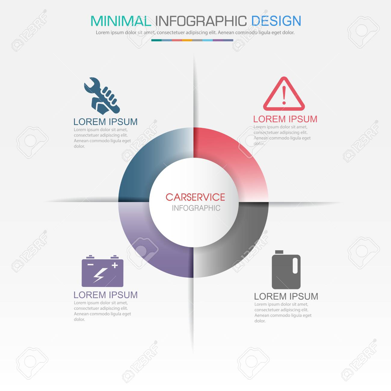 Infographic elements with service icon on full color background infographic elements with service icon on full color background circle process or steps and options workflow ccuart Choice Image
