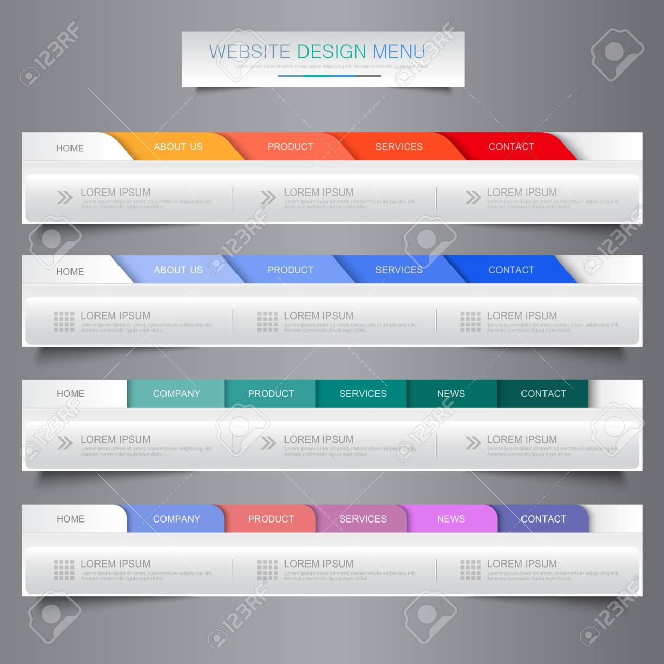 Web Site Design Menu Navigation Elements With Icons Set: Navigation ...