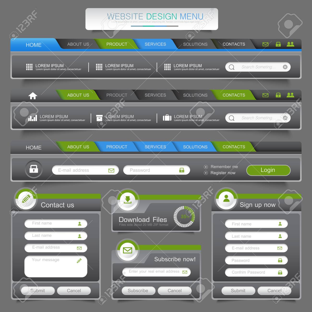 Design Menu Navigation Elements With Icons Set: Navigation Menu ...