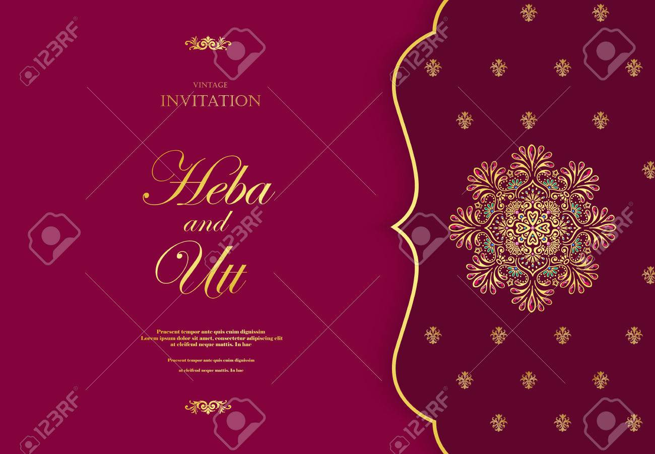 Wedding Or Invitation Card Vintage Style With Crystals Abstarct ...