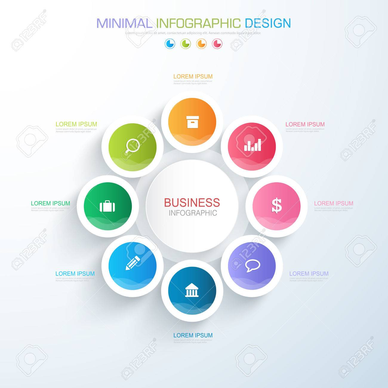 Infographic elements with business icon on full color background infographic elements with business icon on full color background process or steps and options workflow diagrams ccuart Choice Image