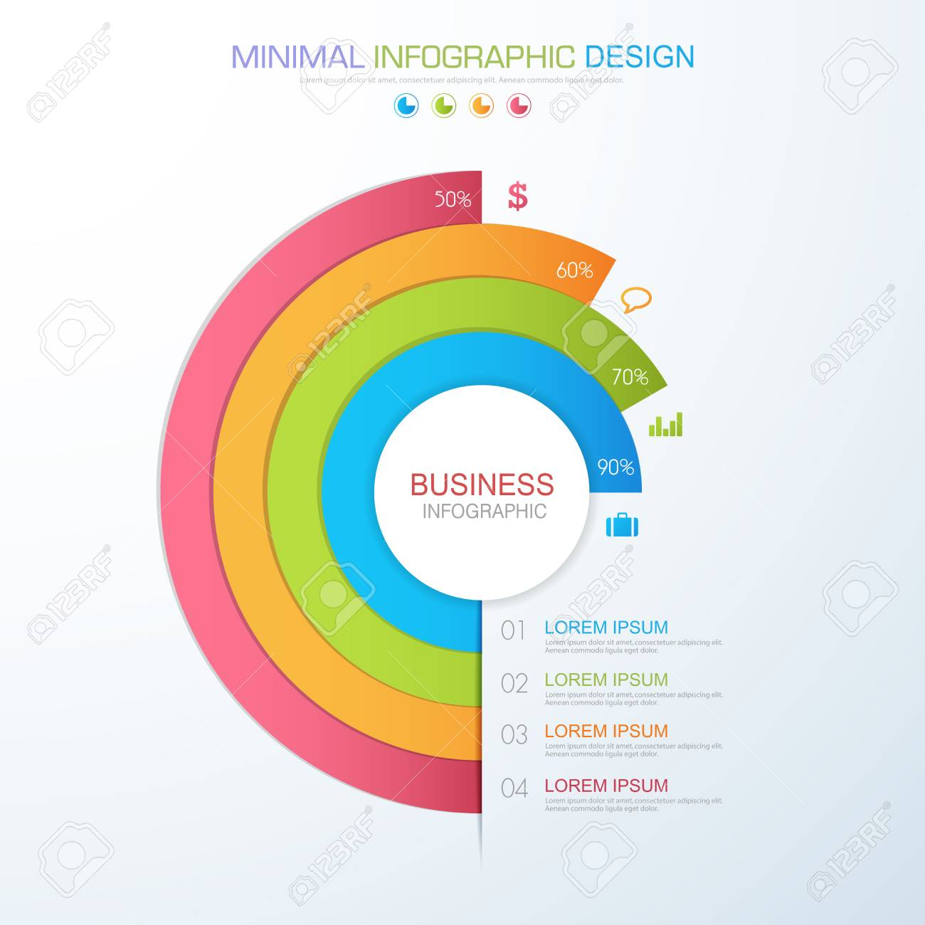 Infographic elements with business icon on full color background imagens infographic elements with business icon on full color background process or steps and options workflow diagramsvector design element eps10 ccuart Choice Image