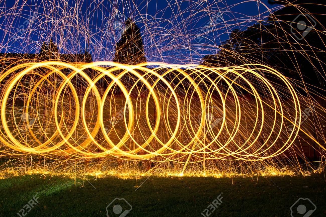 Burning steel wool spin in circles to make patterns in the night Stock Photo - 20821100