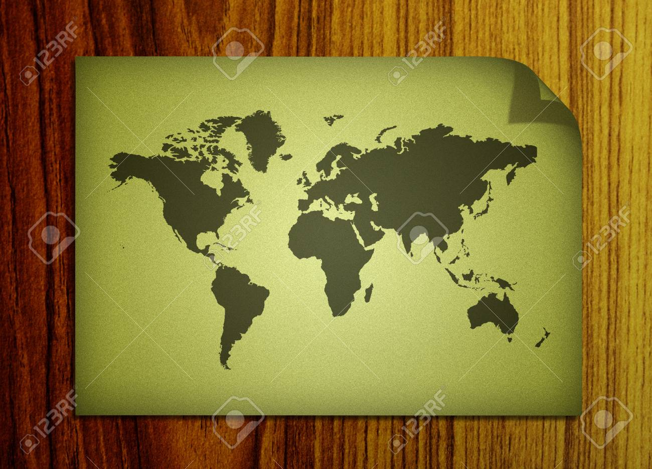 world map on wooden background Stock Photo - 9098272