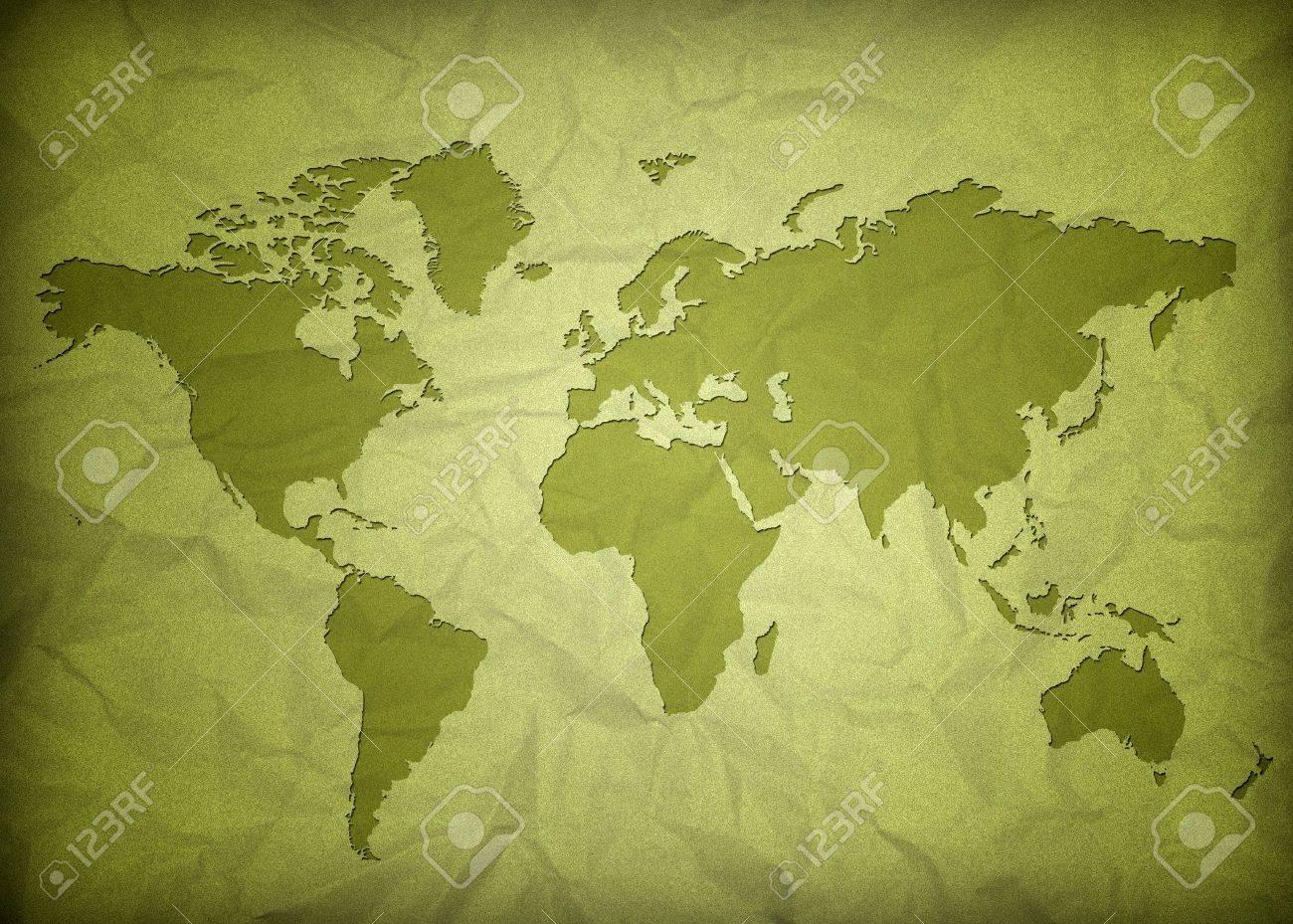 crumpled vintage world map Stock Photo - 9504276