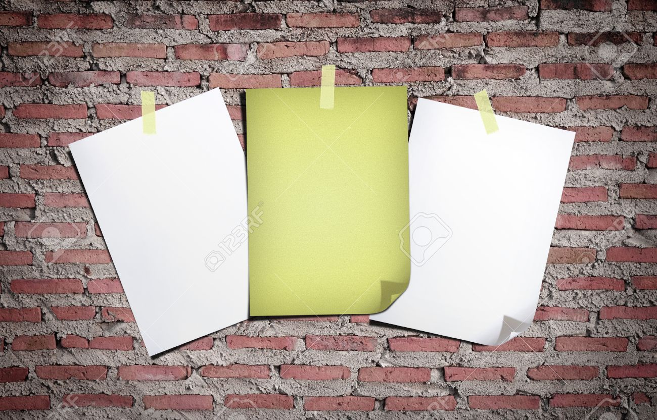Uncategorized Stick Paper To Wall white paper and old stick tape on the  gray brick wall