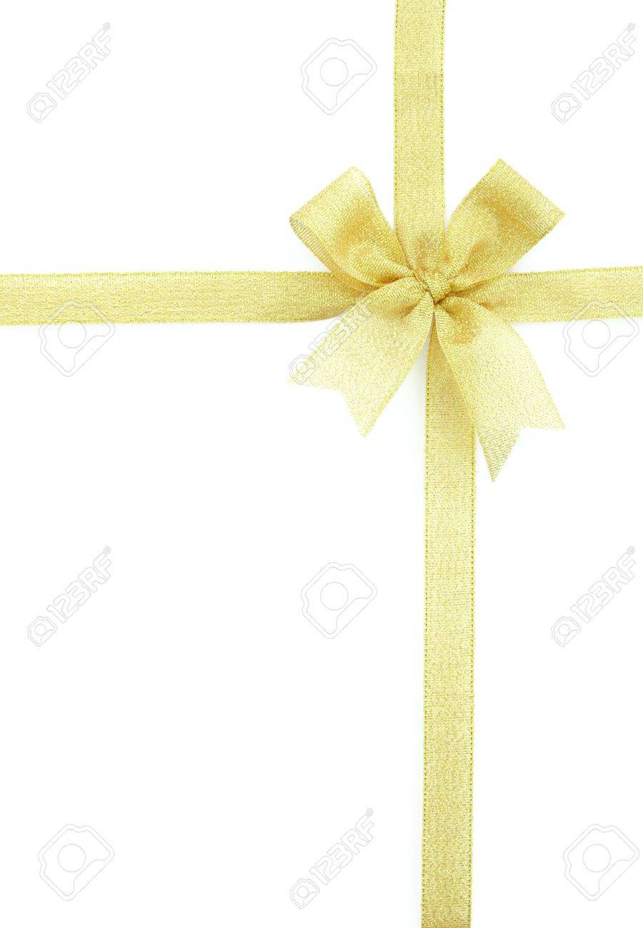 gold ribbon and bow Isolated on white background Stock Photo - 10256033