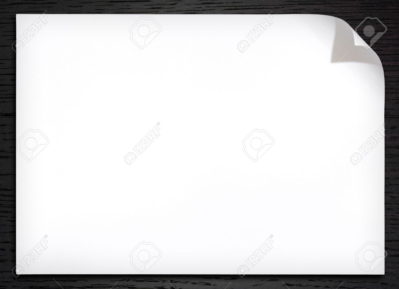 Blank White Paper With Corner Curl On The Dark Wood Background Stock Photo    12599959  Blank Paper Background