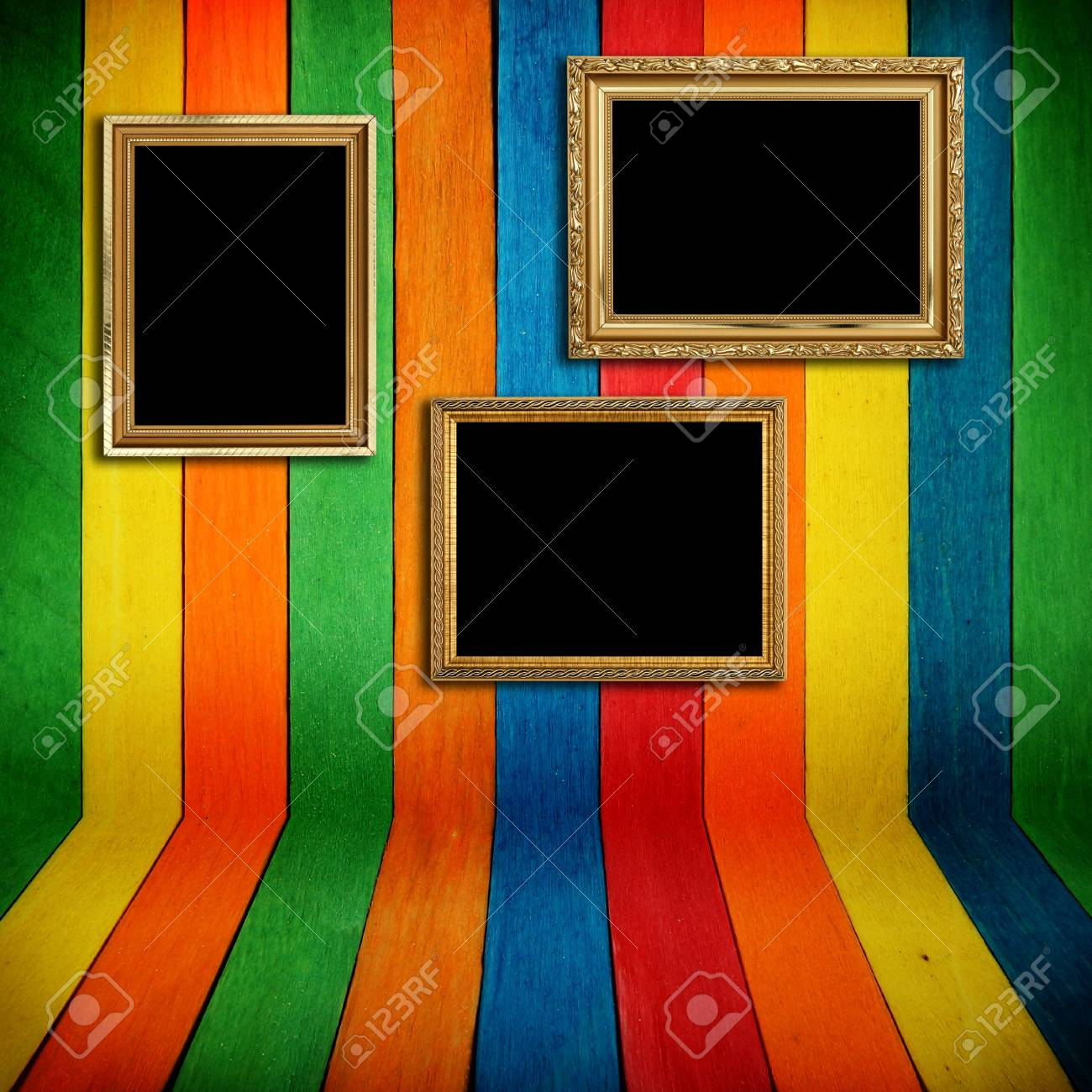 Gold frame on colorful wood Background Stock Photo - 13123109