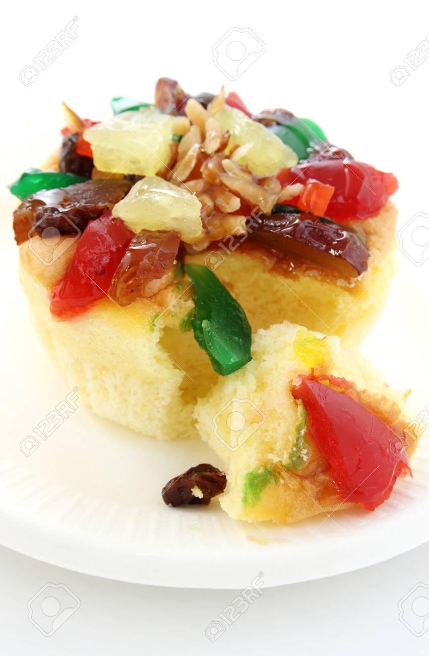fruit cake isolated on white background Stock Photo - 15267250