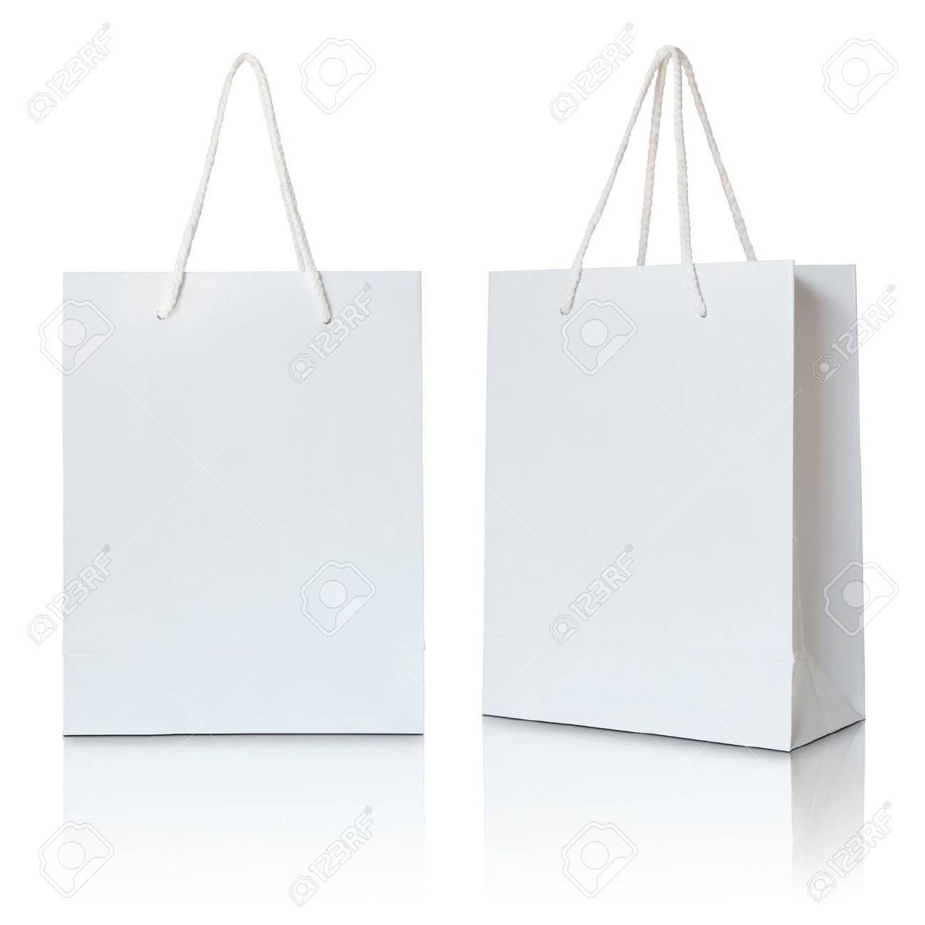 white paper bag on white background - 32511028