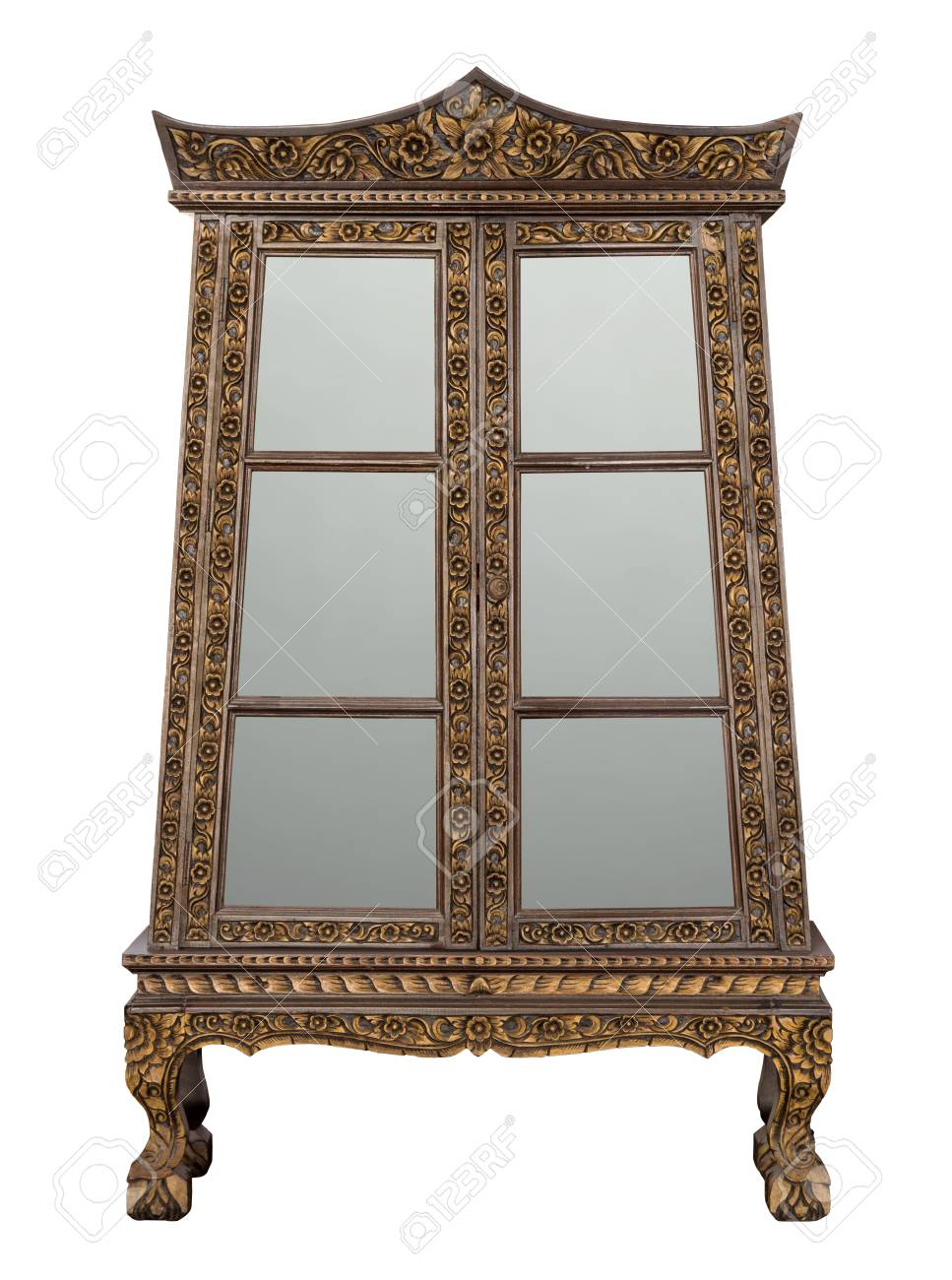 Antique Wooden Cabinet With Glass Doors Isolated On White With
