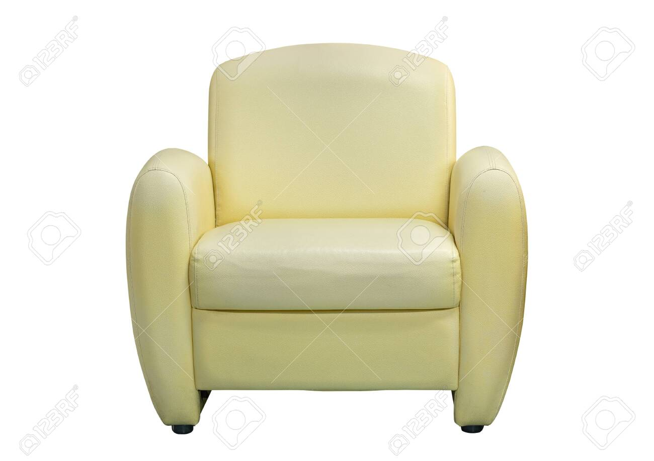 - Front View Of Yellow Leather Sofa Furniture Isolated On White