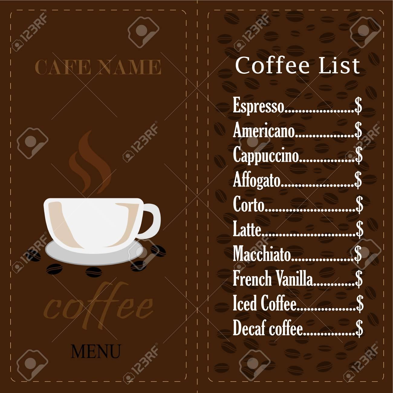 Coffee Shop Logo And Menu Design Vector Brochure Template. Coffee Cup  Silhouette. Stock Vector