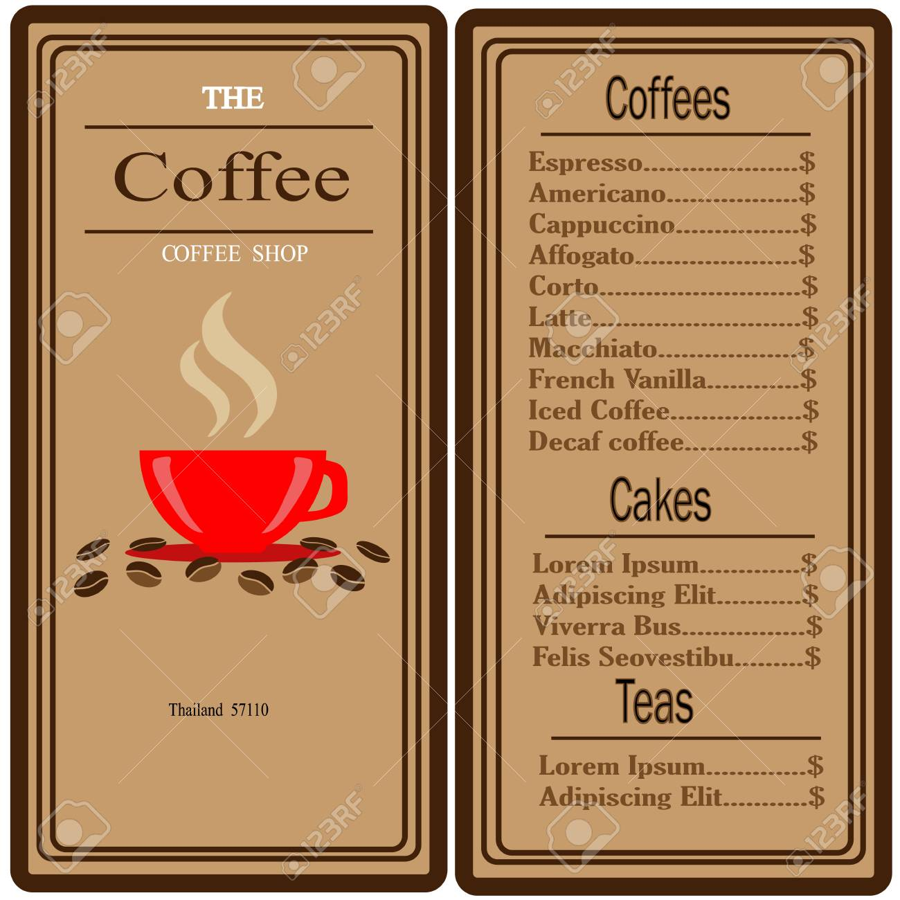 Attractive Coffee Shop Logo And Menu Design Vector Brochure Template. Coffee Cup  Silhouette. Stock Vector