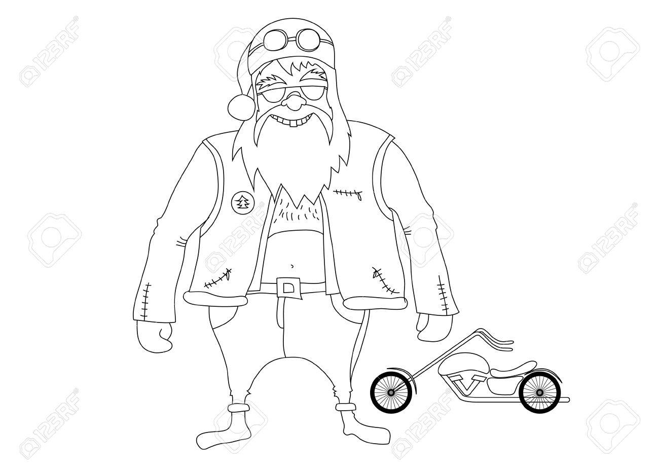 Color it. Santa Claus biker in front of his chopper Stock Vector - 11140049